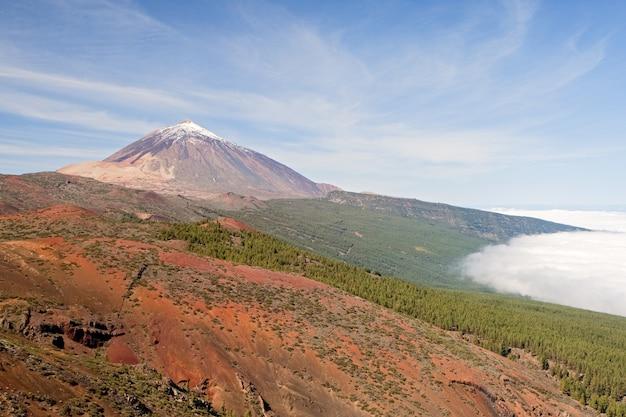 Ładna fotografia teide hiszpański nieaktywny wulkan