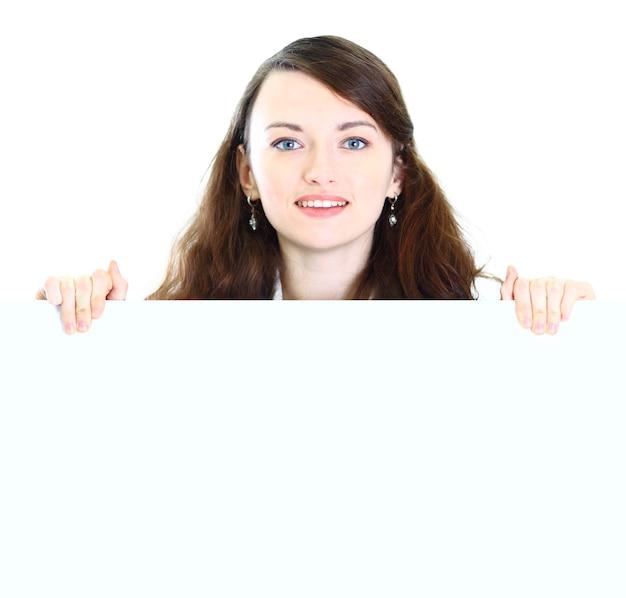 Ładna kobieta biznesu w biurze pokazów plakatu