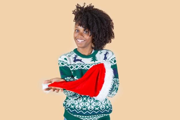Ładna kobieta w santa hat, boże narodzenie nowy rok