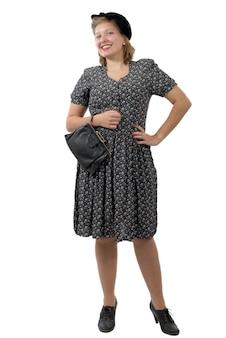 Ładna kobieta w stylu ubrania 1940