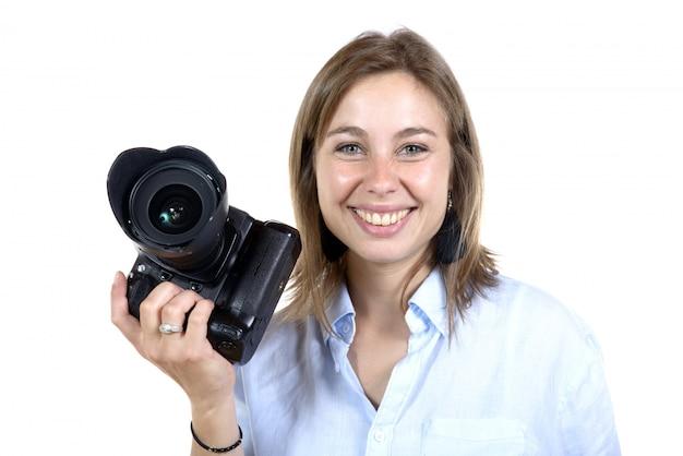 Ładna kobieta z aparatem