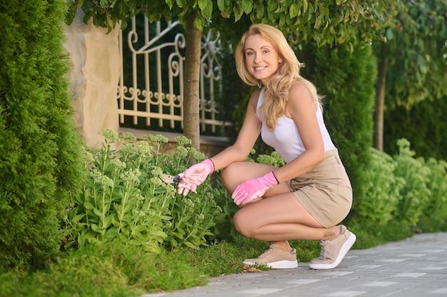 Ładna kobieta z nożycami ogrodowymi przykucnięta w pobliżu kwiatów