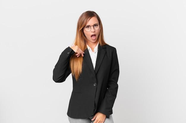 Ładna kobieta, zszokowana i zaskoczona, z szeroko otwartymi ustami, wskazując na siebie. pomysł na biznes