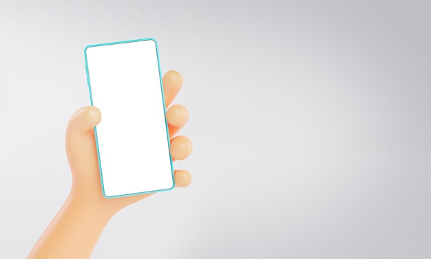 Ładna ręka renderowania 3d trzymając telefon makieta szablon