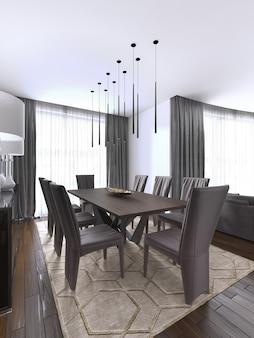 Ładnie urządzony luksusowy salon, jadalnia. stół i kilka krzeseł. projektowanie wnętrz. renderowanie 3d