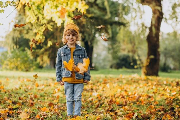 Ładny chłopiec bawi się liśćmi w jesiennym parku