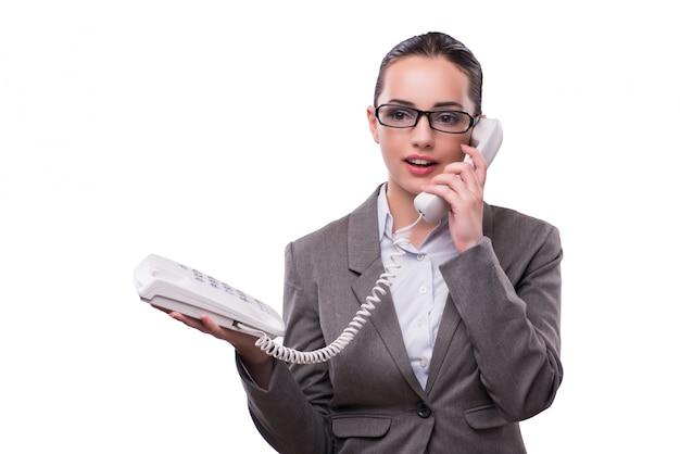 Ładny elegancki centrum telefoniczne operator odizolowywający na bielu