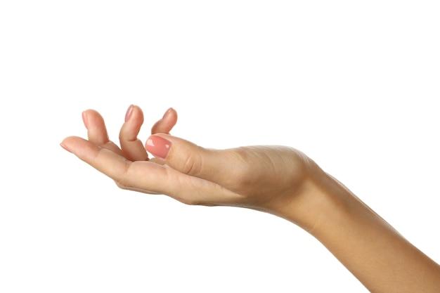Ładny kobiecej dłoni z różowym manicure na białym tle