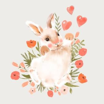 Ładny króliczek ilustracja z sercem i kwiatami
