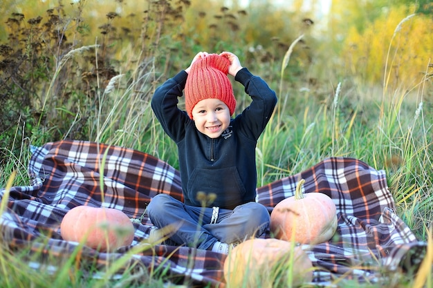Ładny młody chłopak w czerwonym kapeluszu na koc w kratę z dużymi dyniami