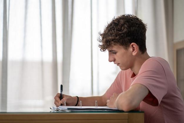 Ładny nastoletni chłopak piszący w zeszycie w swoim salonie