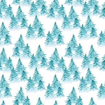 Ładny niebieski wzór akwarela z bałaganem iglastych jodeł