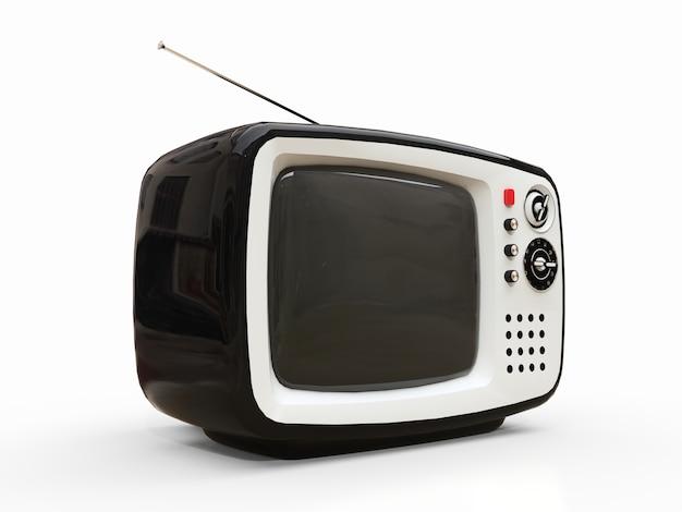 Ładny stary czarny telewizor z anteną na białej powierzchni