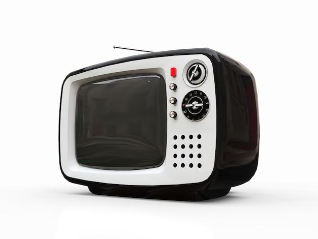 Ładny stary czarny telewizor z anteną na białym tle. ilustracja 3d.