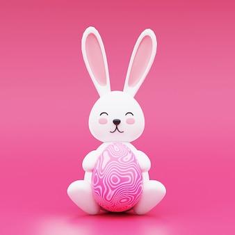 Ładny zajączek wielkanocny z jajkiem wielkanocnym na różowym tle. koncepcja szczęśliwa wielkanoc. renderowanie 3d.