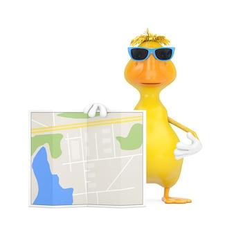 Ładny żółty kreskówka kaczka osoba charakter maskotka z streszczenie mapę planu miasta na białym tle. renderowanie 3d