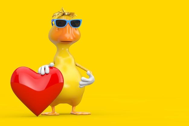 Ładny żółty kreskówka kaczka osoba maskotka znaków z czerwonym sercem na żółtym tle. renderowanie 3d