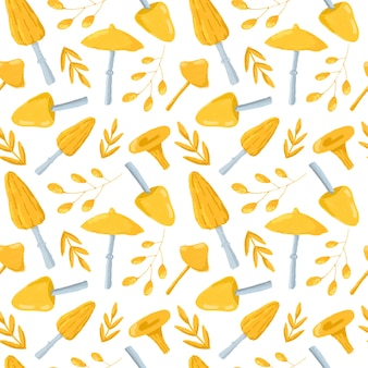Ładny żółty wzór grzybów i liści. ręcznie rysowane grzyby na białym tle powtórzyć drukowanie. jesienne tło dla tekstyliów, tkanin, tapet, papieru do pakowania, projektowania i dekoracji.