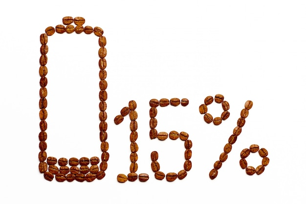 Ładowanie baterii 15% ziaren kawy
