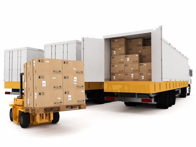 Ładowanie stosu zapakowanych pudełek na ciężarówkę