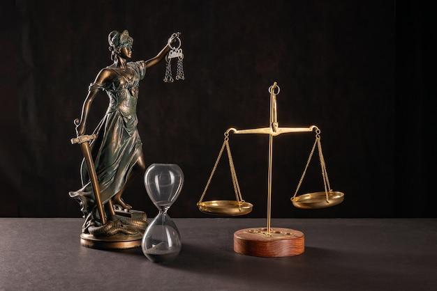 Lady justice lub themis lub justilia (bogini sprawiedliwości) na czarnym tle