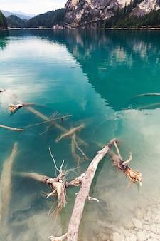 Lago di braies z zielonymi wodami