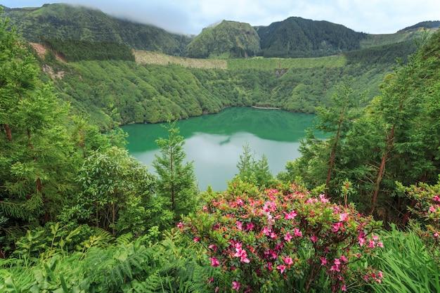 Lagoa de santiago. wyspa sao miguel. azory. portugalia.