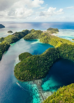 Laguna sugba w siargao, filipiny. zdjęcia lotnicze zrobione dronem na leśnej zatoce namorzynowej