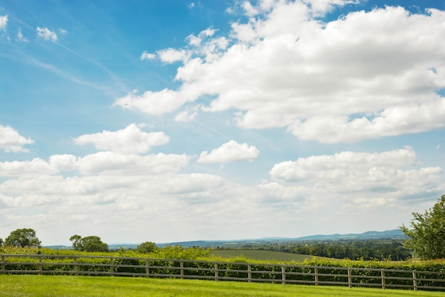 Łąkowa landskape dolina, zielona dolina z niebieskim niebem.