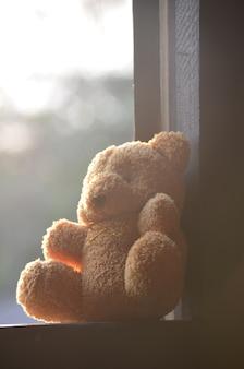 Lalka niedźwiedzia umieszczona na oknach
