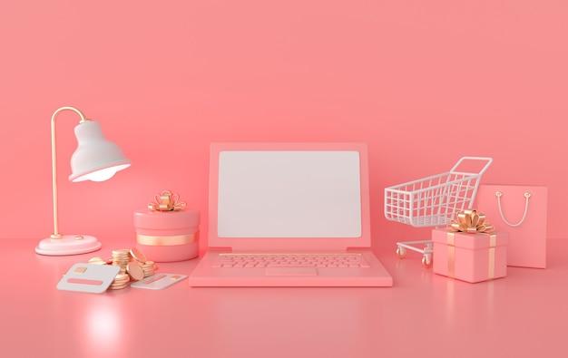 Lampa do laptopa wózek na zakupy i pudełko na prezenty stos monet karty kredytowe renderowanie 3d