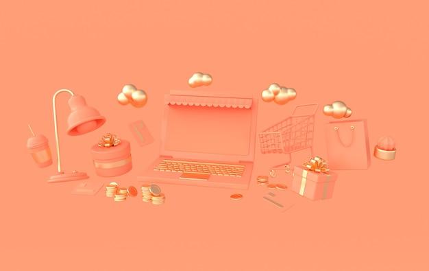 Lampa do laptopa wózek na zakupy i torba na kawę i pudełko na prezenty stos monet karty kredytowe