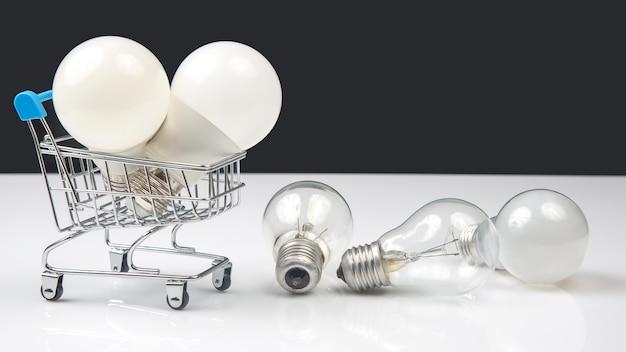 Lampa elektryczna led w koszyku targowym. produkty konsumenckie do użytku domowego