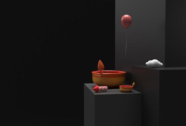 Lampa olejna 3d render - scena diya z minimalną sceną podium dla produktów wystawowych diwali świąteczny projekt reklamowy.