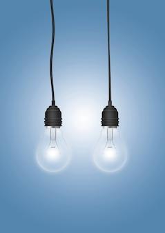 Lampa wisząca z żarówką na kolorowej powierzchni