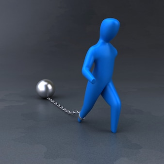 Łańcuch i piłka - 3d ilustracja
