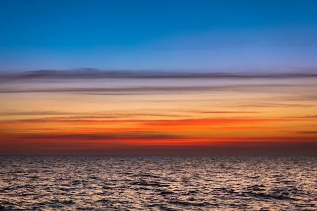Lanscape zmierzchu niebo i morze.