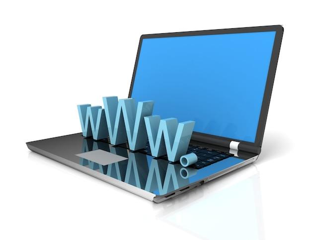 Laptop 3d pokazujący www