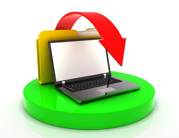 Laptop i folder plikówñž. koncepcja transferu danych