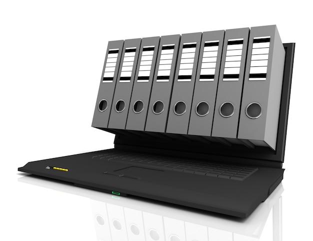 Laptop i foldery