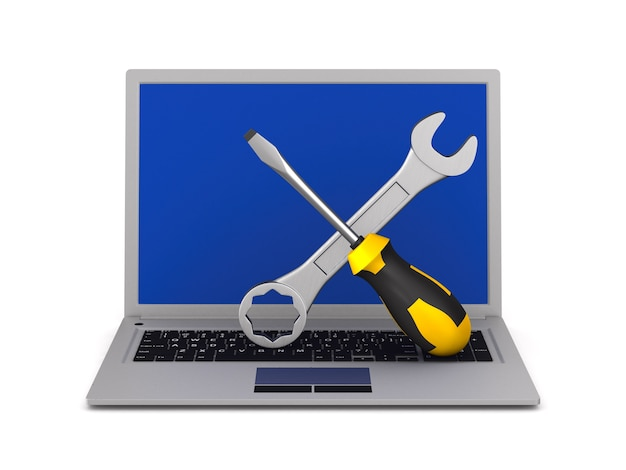 Laptop i narzędzie na białym tle. ilustracja na białym tle 3d