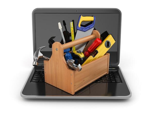 Laptop i skrzynka narzędziowa na białym tle 3d