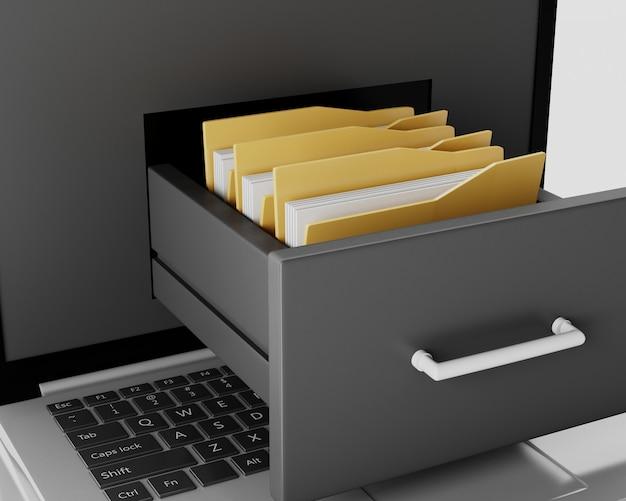 Laptop i szafka na dokumenty z folderami. koncepcja przechowywania danych. 3d ilustracja.