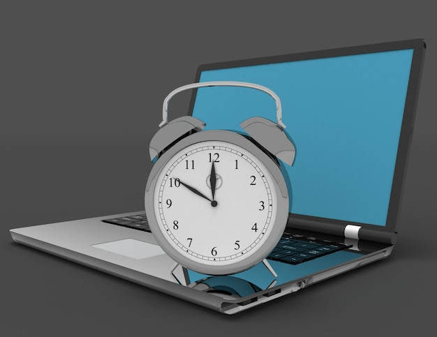 Laptop i zegar. 3d ilustracja na czarno