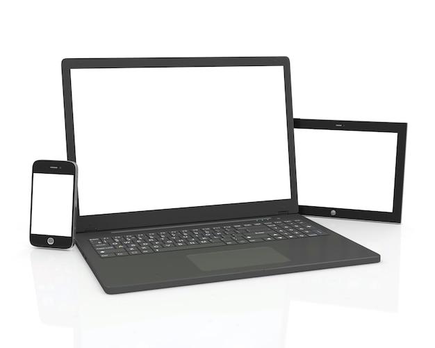 Laptop inteligentny telefon i komputer typu tablet na białym tle