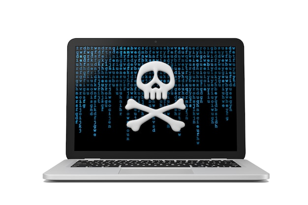 Laptop komputer ilustracja koncepcja cyberprzestępczości