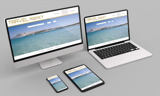 Laptop, komputer stacjonarny, telefon komórkowy i tablet 3d renderowania makieta witryny biura podróży. ilustracja 3d