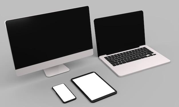 Laptop, komputer stacjonarny, telefon komórkowy i tablet