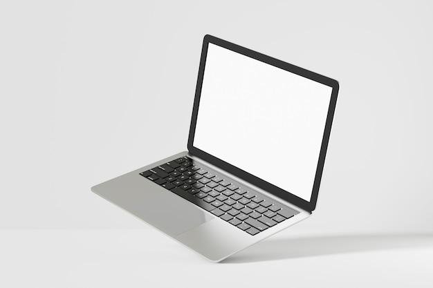 Laptop komputer szary srebrny czarny z pustym białym ekranem. makieta 3d do prezentacji. renderowanie ilustracji 3d.