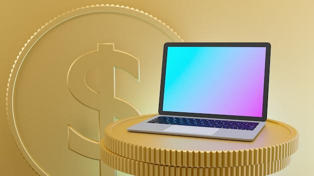 Laptop miejsce na złote monety z tłem znak dolara monety. 3d renderowania obrazu ilustracji.